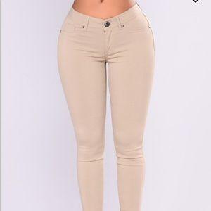 Essie Basic Skinny Pants- Khaki from Fashion Nova